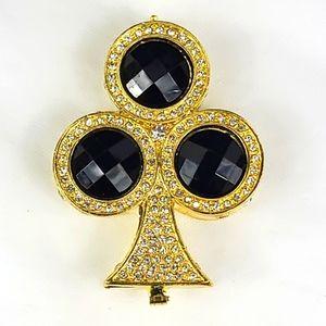 King of clubs rhinestones goldtone enamel trinket / pill box.